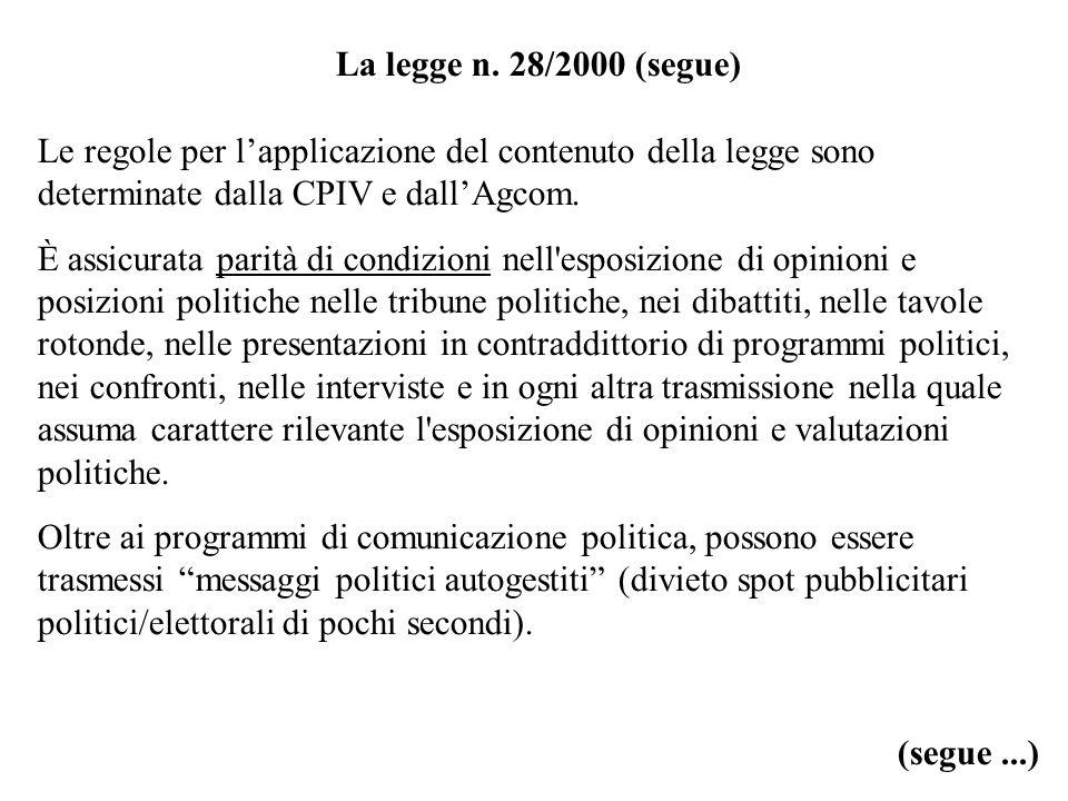 La legge n. 28/2000 (segue) Le regole per lapplicazione del contenuto della legge sono determinate dalla CPIV e dallAgcom. È assicurata parità di cond