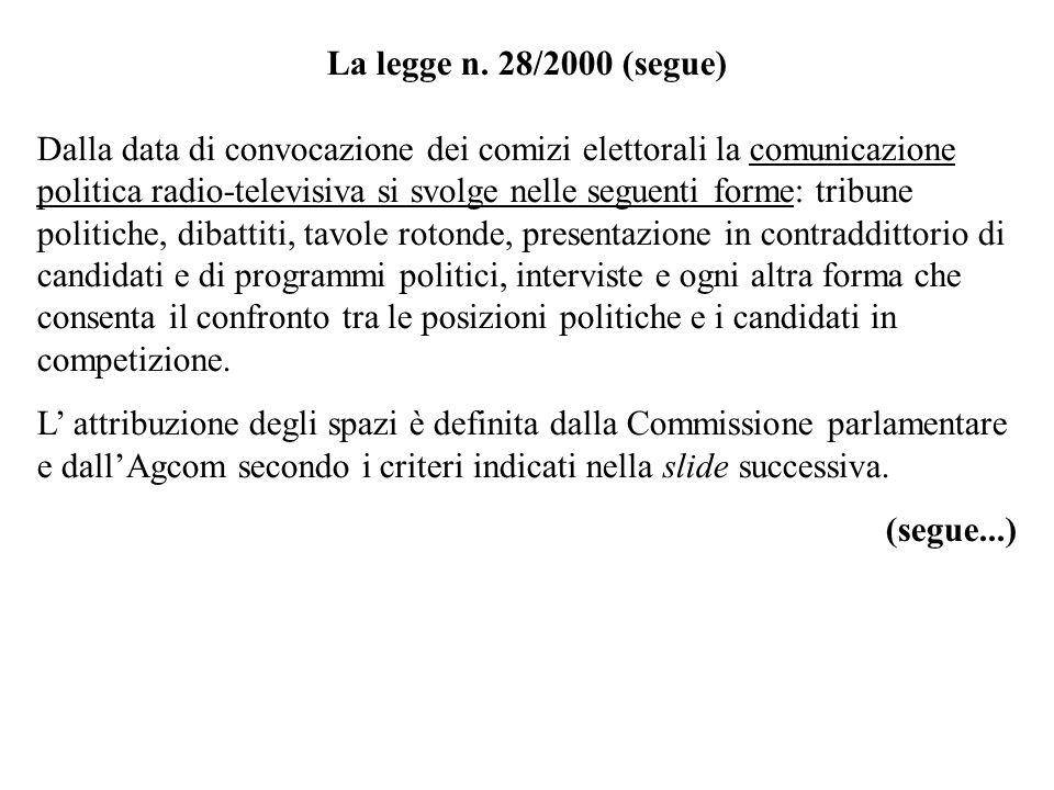 La legge n. 28/2000 (segue) Dalla data di convocazione dei comizi elettorali la comunicazione politica radio-televisiva si svolge nelle seguenti forme