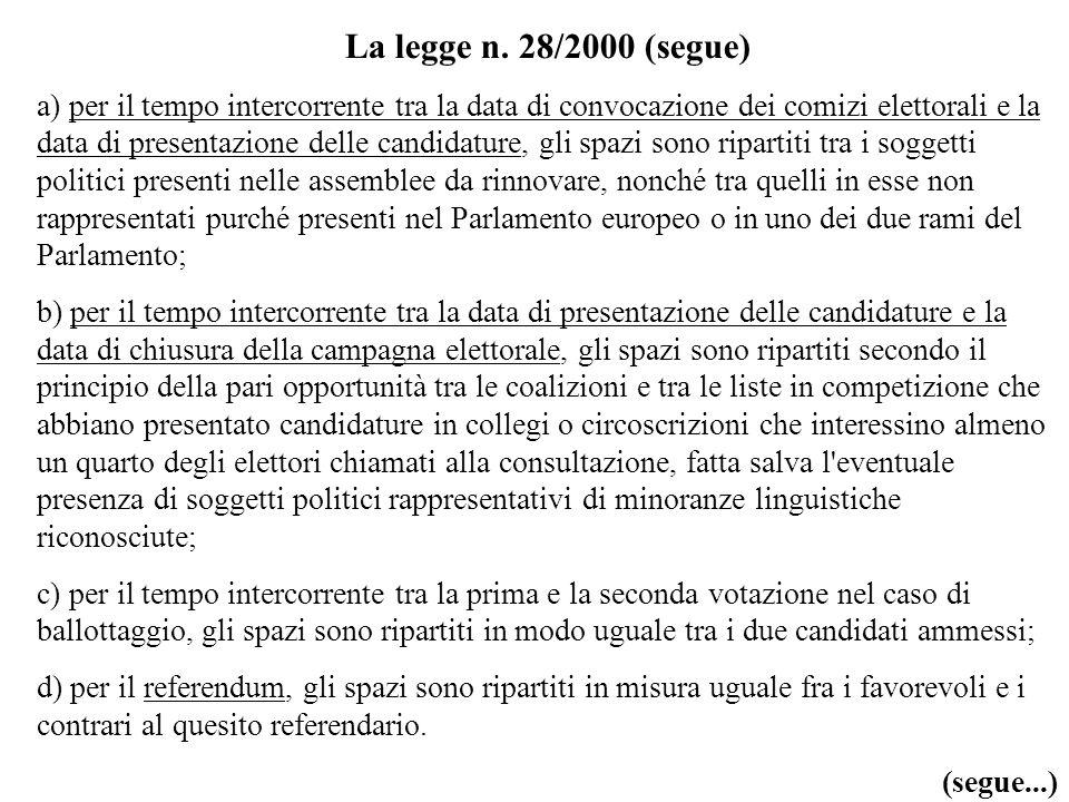 La legge n. 28/2000 (segue) a) per il tempo intercorrente tra la data di convocazione dei comizi elettorali e la data di presentazione delle candidatu