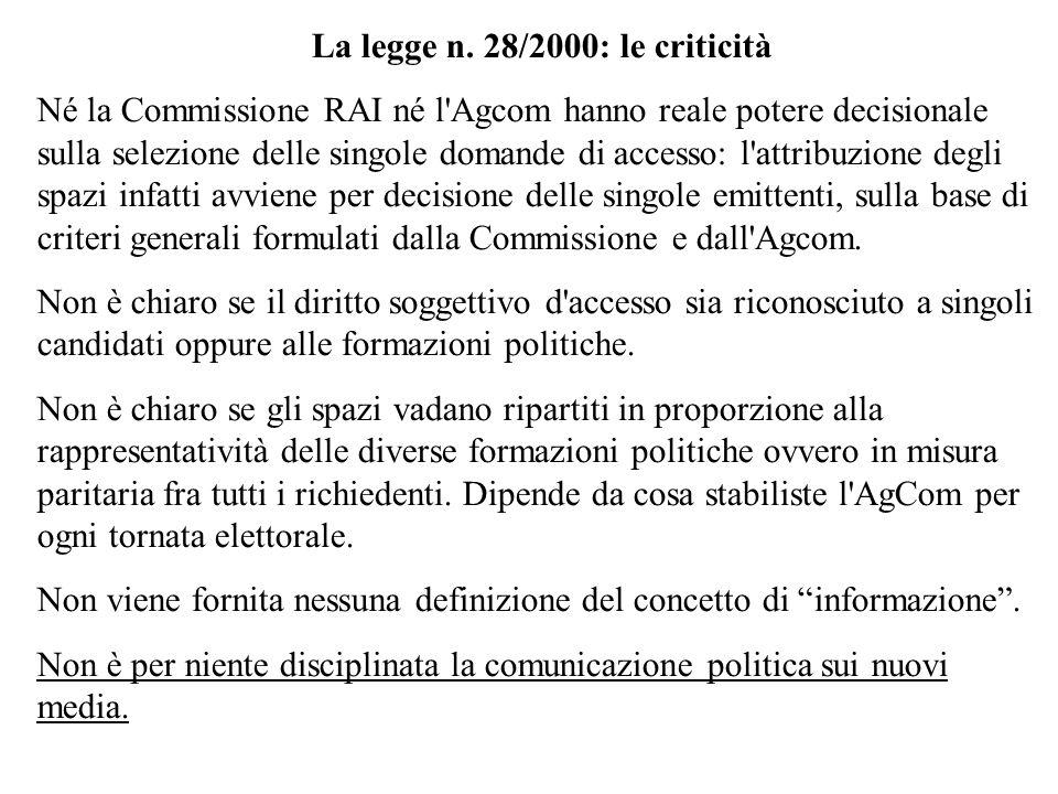 La legge n. 28/2000: le criticità Né la Commissione RAI né l'Agcom hanno reale potere decisionale sulla selezione delle singole domande di accesso: l'