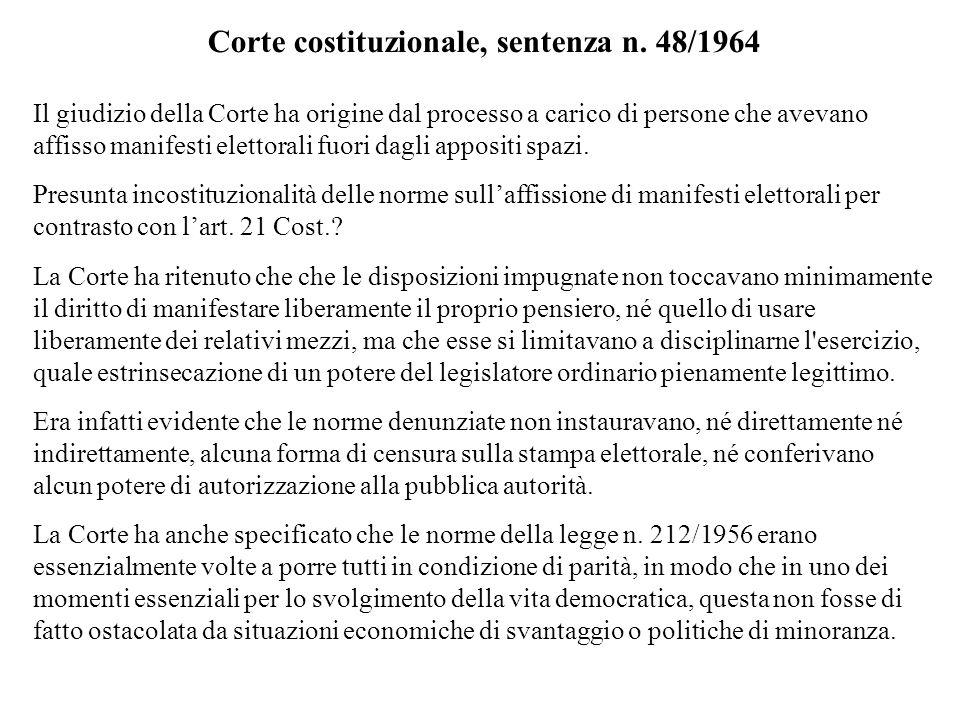 Corte costituzionale, sentenza n. 48/1964 Il giudizio della Corte ha origine dal processo a carico di persone che avevano affisso manifesti elettorali