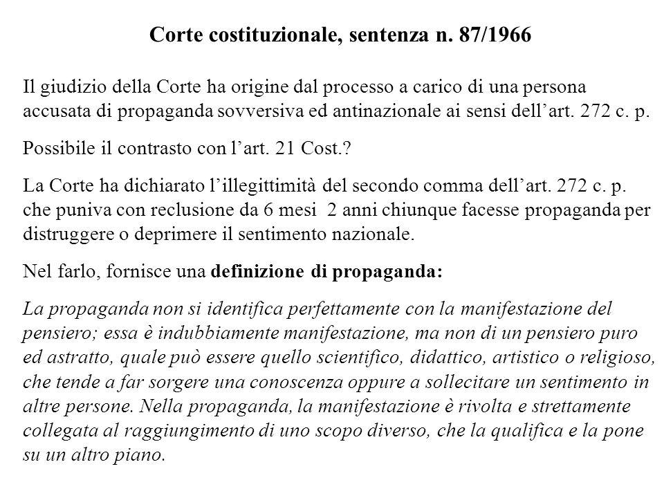 Corte costituzionale, sentenza n. 87/1966 Il giudizio della Corte ha origine dal processo a carico di una persona accusata di propaganda sovversiva ed