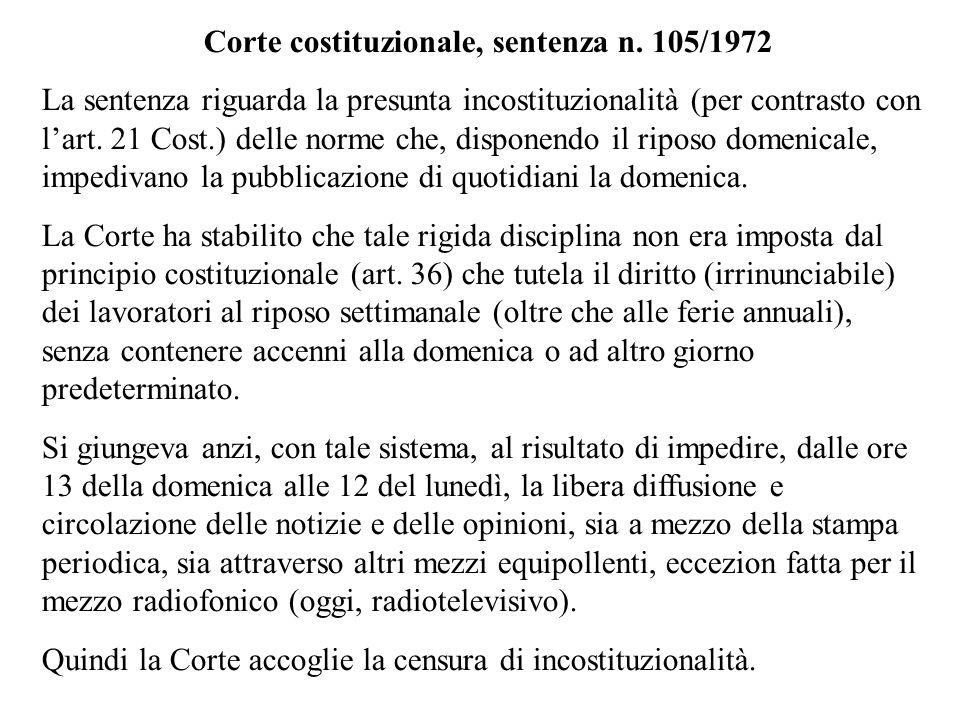 Corte costituzionale, sentenza n. 105/1972 La sentenza riguarda la presunta incostituzionalità (per contrasto con lart. 21 Cost.) delle norme che, dis