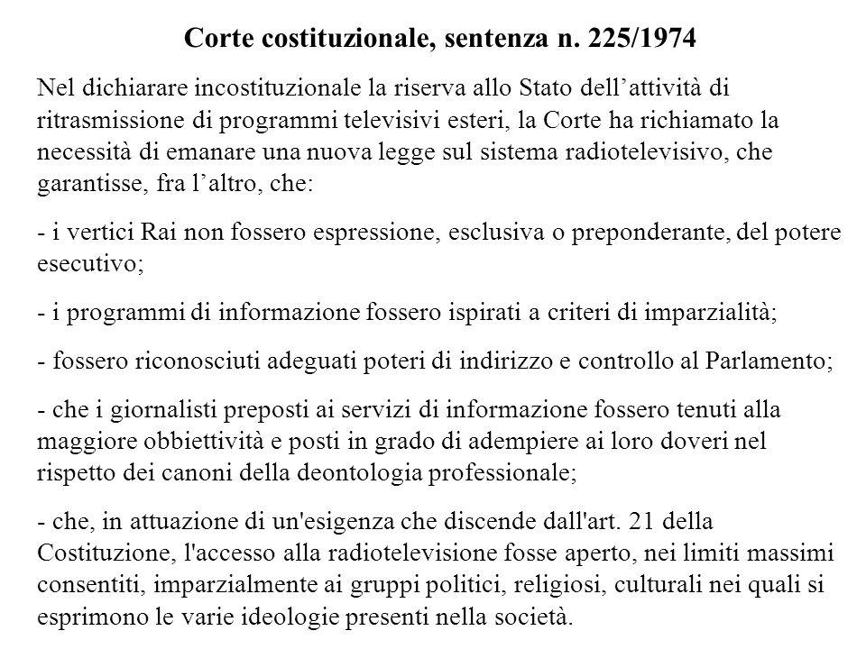 Corte costituzionale, sentenza n. 225/1974 Nel dichiarare incostituzionale la riserva allo Stato dellattività di ritrasmissione di programmi televisiv