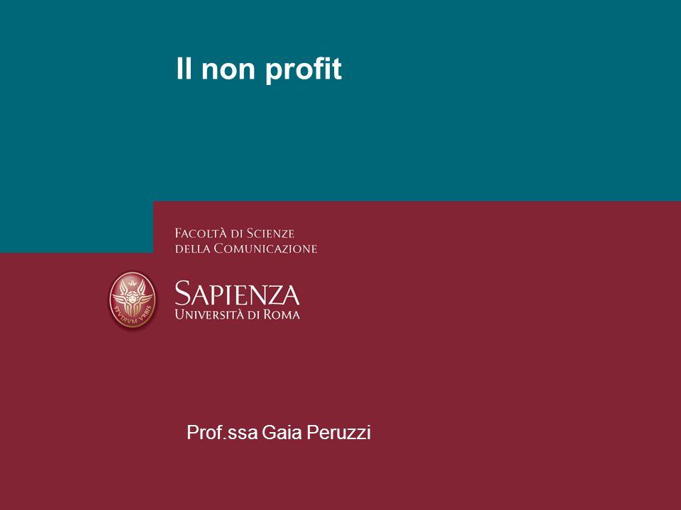 Il non profit Prof.ssa Gaia Peruzzi