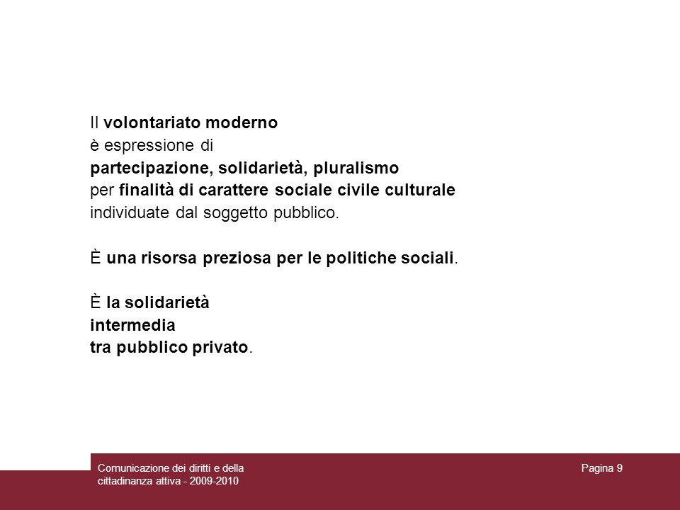 Comunicazione dei diritti e della cittadinanza attiva - 2009-2010 Pagina 9 Il volontariato moderno è espressione di partecipazione, solidarietà, pluralismo per finalità di carattere sociale civile culturale individuate dal soggetto pubblico.