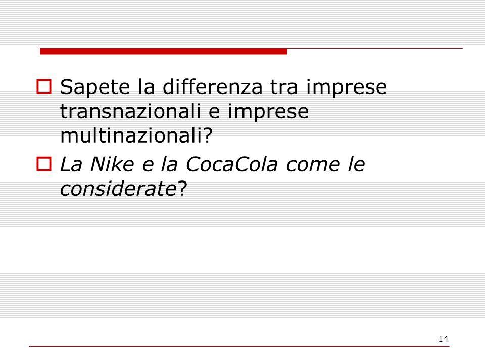 14 Sapete la differenza tra imprese transnazionali e imprese multinazionali.