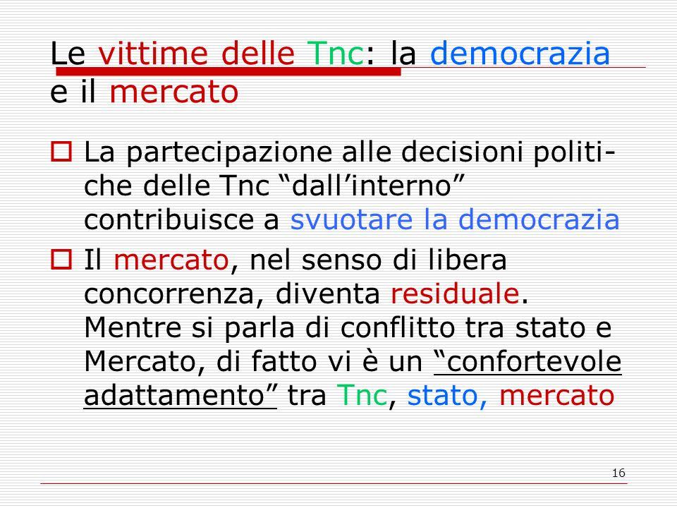 16 Le vittime delle Tnc: la democrazia e il mercato La partecipazione alle decisioni politi- che delle Tnc dallinterno contribuisce a svuotare la democrazia Il mercato, nel senso di libera concorrenza, diventa residuale.