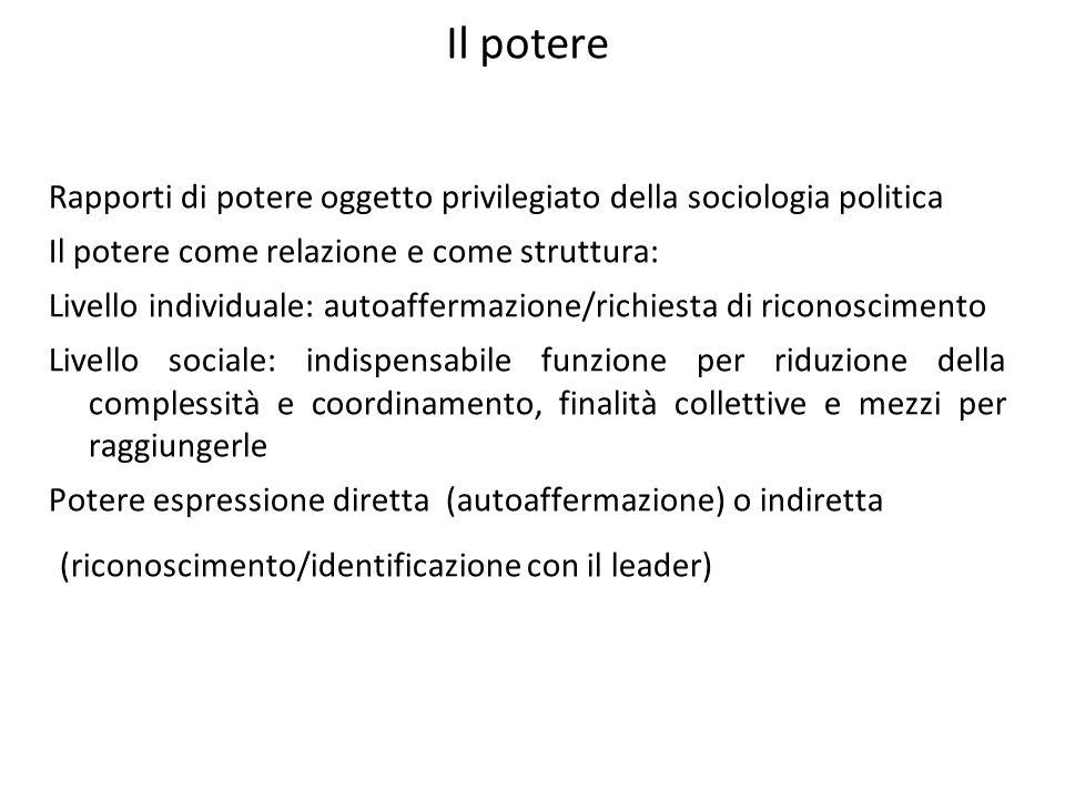 Il potere Rapporti di potere oggetto privilegiato della sociologia politica Il potere come relazione e come struttura: Livello individuale: autoafferm