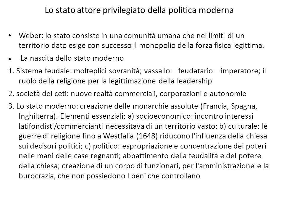 Lo stato attore privilegiato della politica moderna Weber: lo stato consiste in una comunità umana che nei limiti di un territorio dato esige con succ