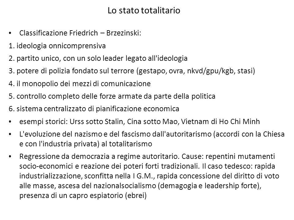 Lo stato totalitario Classificazione Friedrich – Brzezinski: 1. ideologia onnicomprensiva 2. partito unico, con un solo leader legato all'ideologia 3.