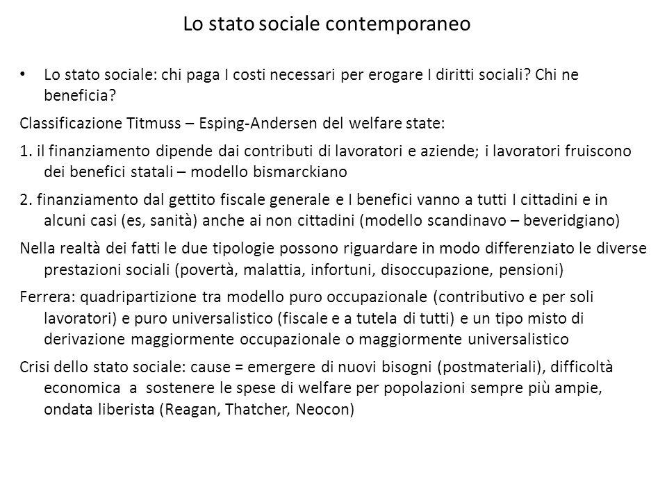 Lo stato sociale contemporaneo Lo stato sociale: chi paga I costi necessari per erogare I diritti sociali? Chi ne beneficia? Classificazione Titmuss –