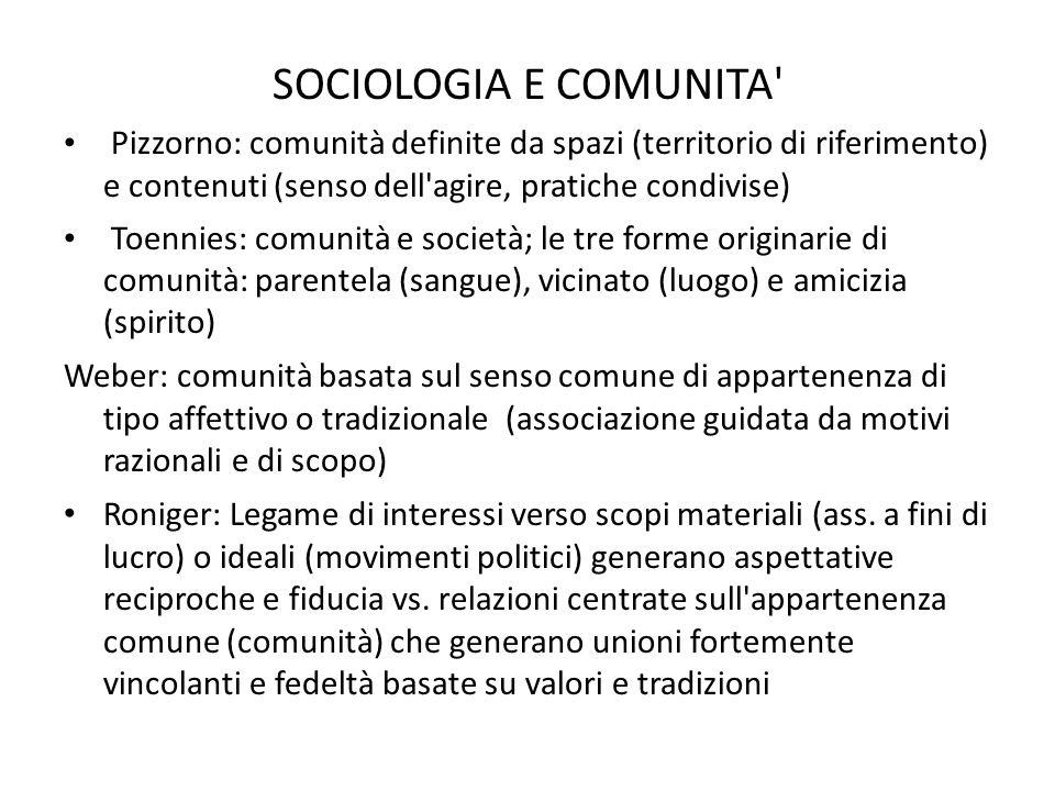 SOCIOLOGIA E COMUNITA' Pizzorno: comunità definite da spazi (territorio di riferimento) e contenuti (senso dell'agire, pratiche condivise) Toennies: c