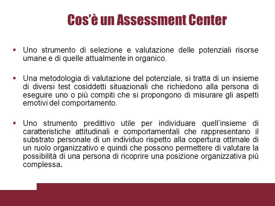 Cosè un Assessment Center Uno strumento di selezione e valutazione delle potenziali risorse umane e di quelle attualmente in organico.