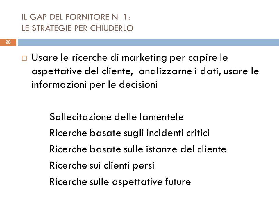 IL GAP DEL FORNITORE N. 1: LE STRATEGIE PER CHIUDERLO Usare le ricerche di marketing per capire le aspettative del cliente, analizzarne i dati, usare