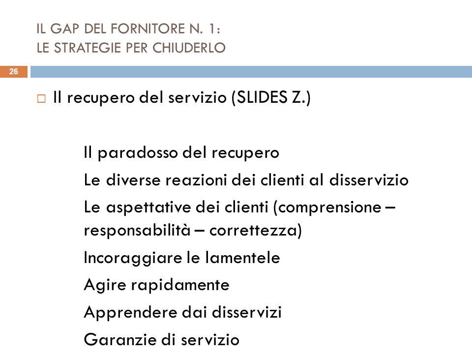 IL GAP DEL FORNITORE N. 1: LE STRATEGIE PER CHIUDERLO Il recupero del servizio (SLIDES Z.) Il paradosso del recupero Le diverse reazioni dei clienti a