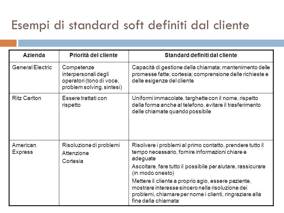 Esempi di standard soft definiti dal cliente AziendaPriorità del clienteStandard definiti dal cliente General ElectricCompetenze interpersonali degli