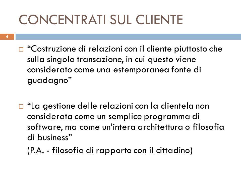 CONCENTRATI SUL CLIENTE Costruzione di relazioni con il cliente piuttosto che sulla singola transazione, in cui questo viene considerato come una este