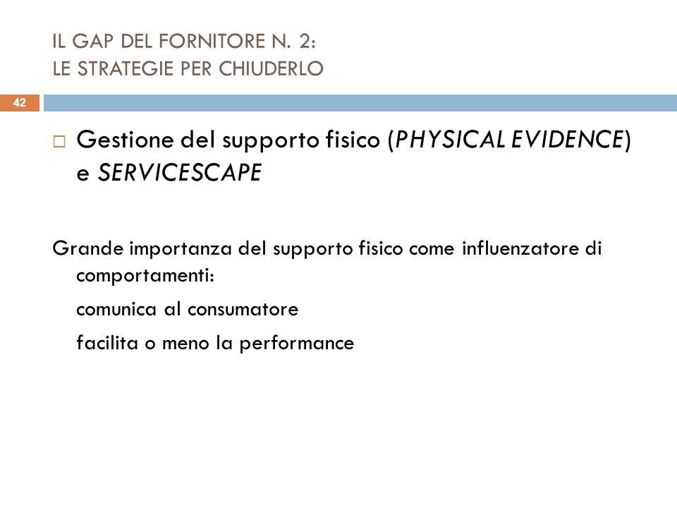 IL GAP DEL FORNITORE N. 2: LE STRATEGIE PER CHIUDERLO Gestione del supporto fisico (PHYSICAL EVIDENCE) e SERVICESCAPE Grande importanza del supporto f