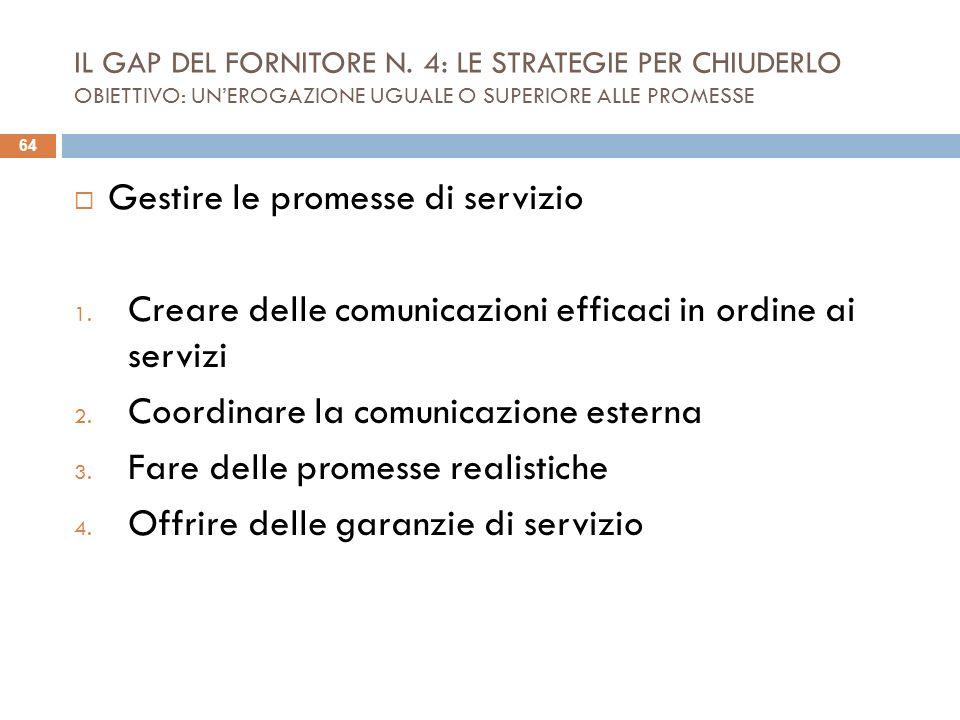 IL GAP DEL FORNITORE N. 4: LE STRATEGIE PER CHIUDERLO OBIETTIVO: UNEROGAZIONE UGUALE O SUPERIORE ALLE PROMESSE Gestire le promesse di servizio 1. Crea