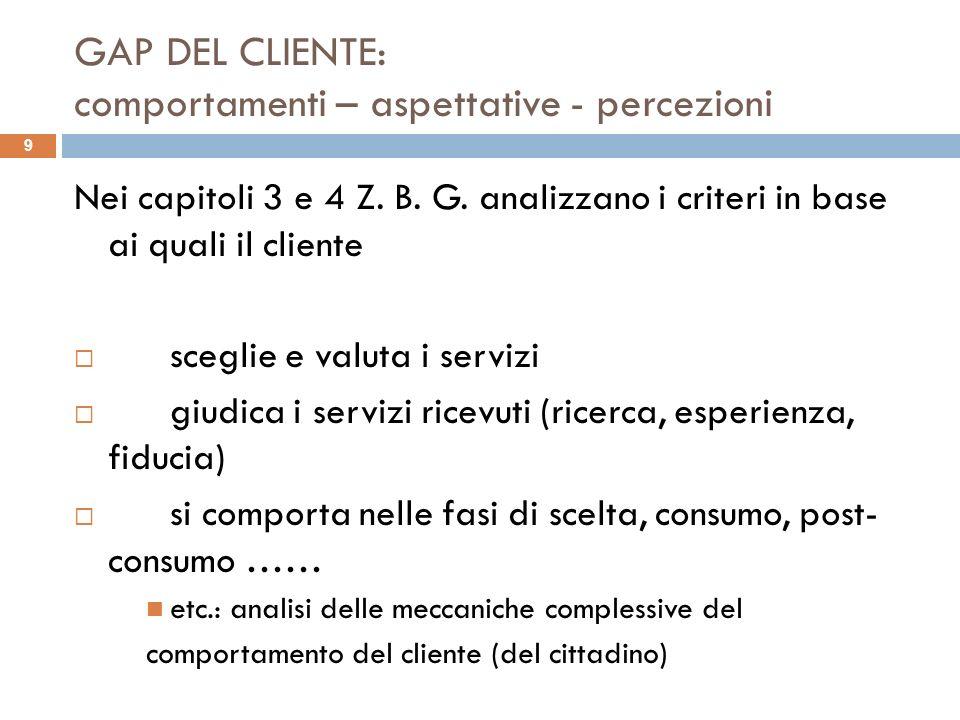 GAP DEL CLIENTE: comportamenti – aspettative - percezioni Nei capitoli 3 e 4 Z. B. G. analizzano i criteri in base ai quali il cliente sceglie e valut