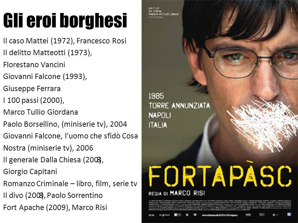Gli eroi borghesi Il caso Mattei (1972), Francesco Rosi Il delitto Matteotti (1973), Florestano Vancini Giovanni Falcone (1993), Giuseppe Ferrara I 10