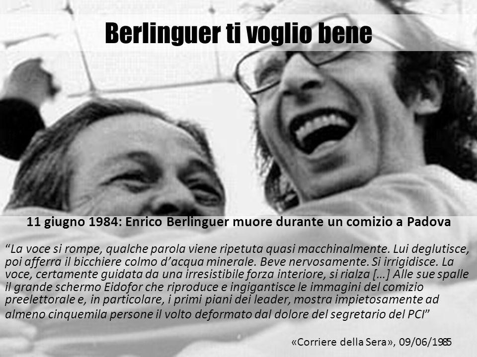 Berlinguer ti voglio bene 11 giugno 1984: Enrico Berlinguer muore durante un comizio a Padova La voce si rompe, qualche parola viene ripetuta quasi ma