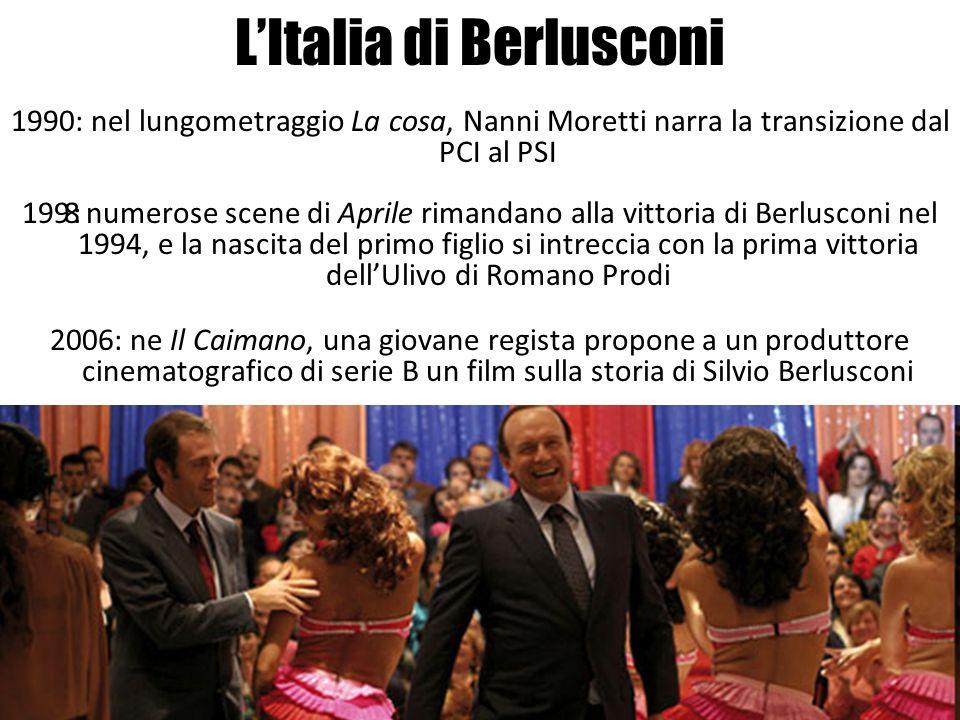 LItalia di Berlusconi 1990: nel lungometraggio La cosa, Nanni Moretti narra la transizione dal PCI al PSI 1998: numerose scene di Aprile rimandano all