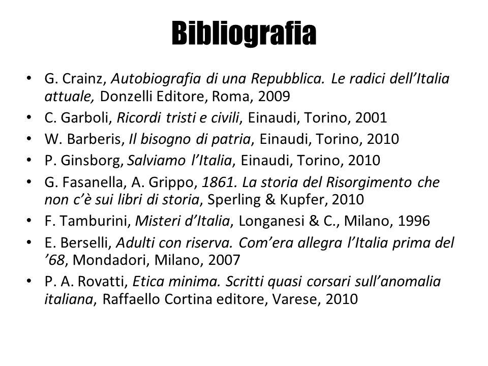 Bibliografia G. Crainz, Autobiografia di una Repubblica. Le radici dellItalia attuale, Donzelli Editore, Roma, 2009 C. Garboli, Ricordi tristi e civil