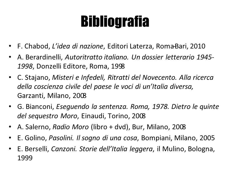 F. Chabod, Lidea di nazione, Editori Laterza, Roma-Bari, 2010 A. Berardinelli, Autoritratto italiano. Un dossier letterario 1945- 1998, Donzelli Edito
