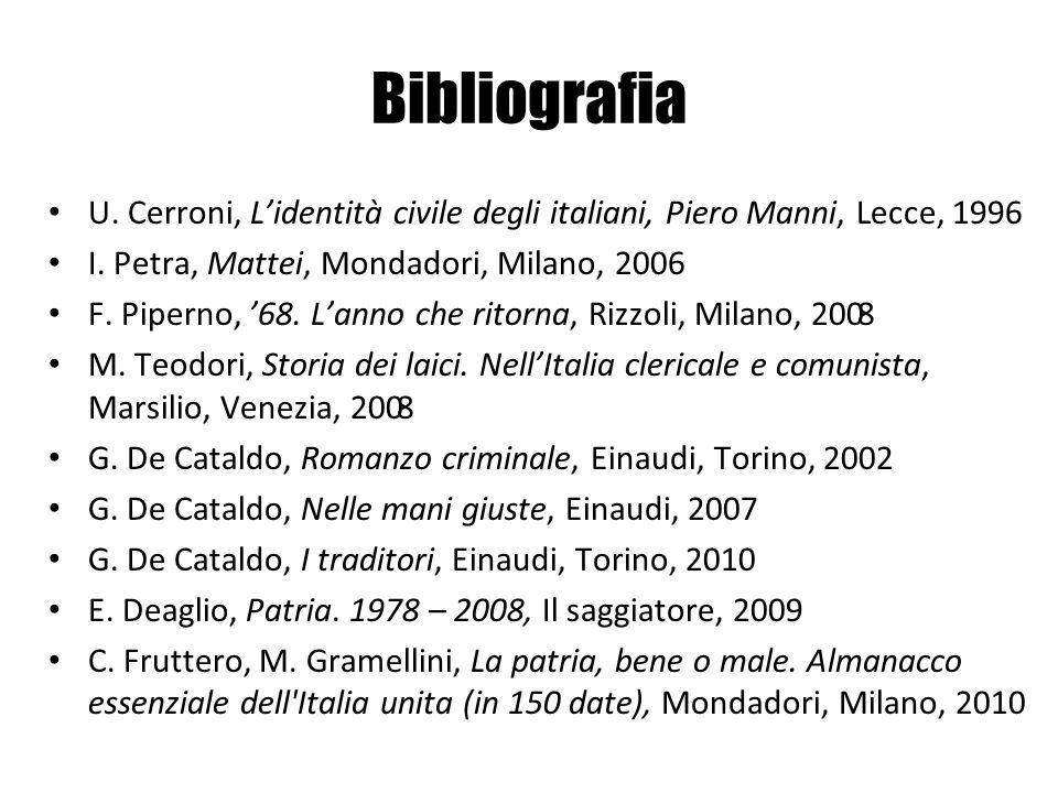 U. Cerroni, Lidentità civile degli italiani, Piero Manni, Lecce, 1996 I. Petra, Mattei, Mondadori, Milano, 2006 F. Piperno, 68. Lanno che ritorna, Riz
