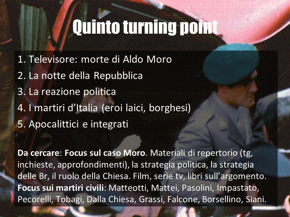 1. Televisore: morte di Aldo Moro 2. La notte della Repubblica 3. La reazione politica 4. I martiri dItalia (eroi laici, borghesi) 5. Apocalittici e i