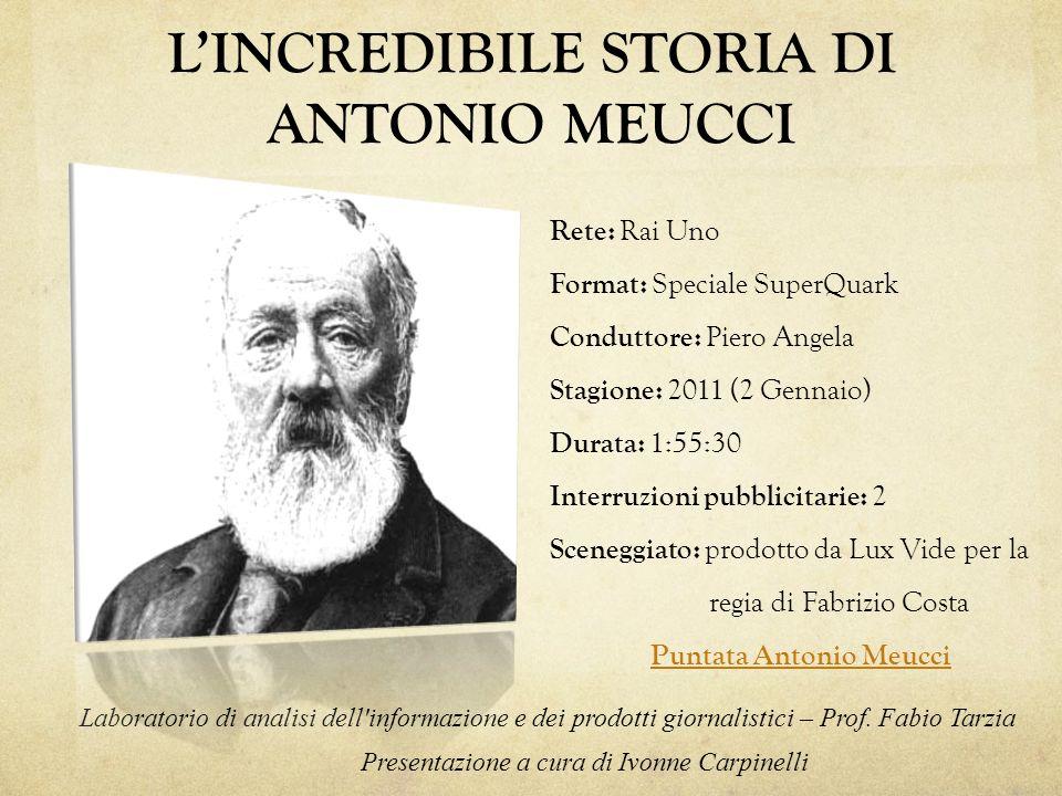 Questa puntata dello Speciale di SuperQuark è dedicata alla biografia di Antonio Meucci, il brillante inventore del telefono.