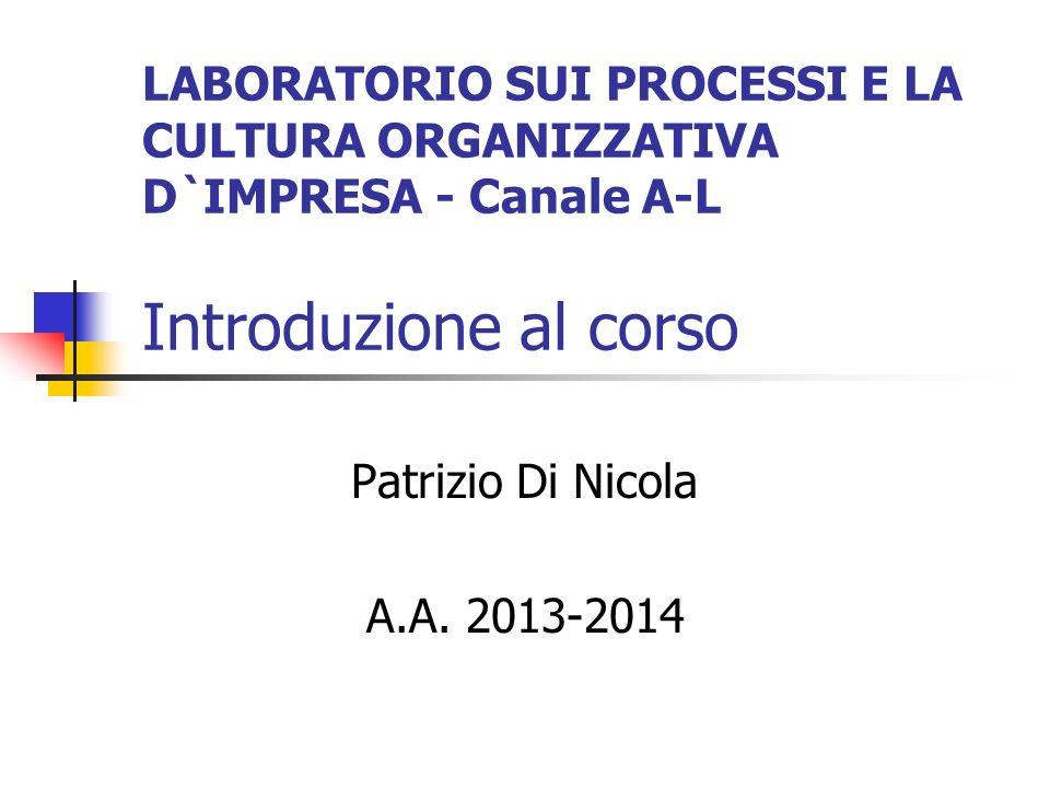 LABORATORIO SUI PROCESSI E LA CULTURA ORGANIZZATIVA D`IMPRESA - Canale A-L Introduzione al corso Patrizio Di Nicola A.A.