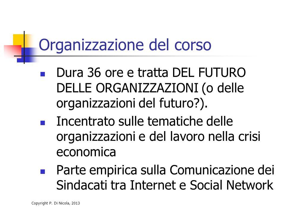 Copyright P. Di Nicola, 2013 Organizzazione del corso Dura 36 ore e tratta DEL FUTURO DELLE ORGANIZZAZIONI (o delle organizzazioni del futuro?). Incen