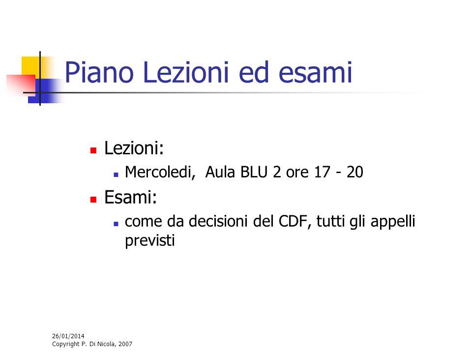 26/01/2014 Copyright P. Di Nicola, 2007 Piano Lezioni ed esami Lezioni: Mercoledi, Aula BLU 2 ore 17 - 20 Esami: come da decisioni del CDF, tutti gli