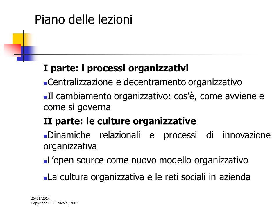 26/01/2014 Copyright P. Di Nicola, 2007 Piano delle lezioni I parte: i processi organizzativi Centralizzazione e decentramento organizzativo Il cambia