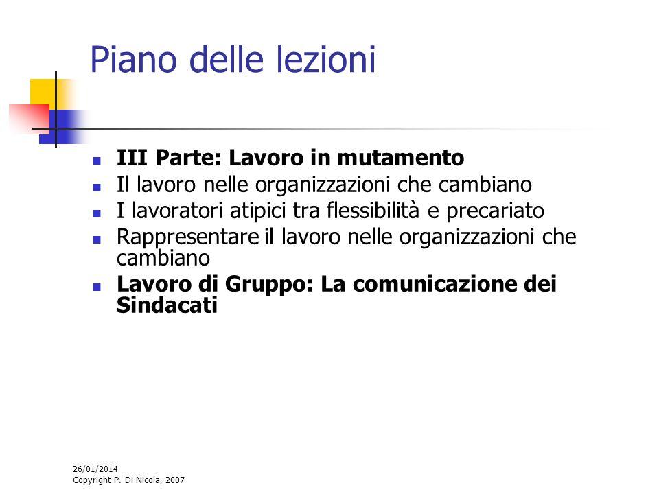 26/01/2014 Copyright P. Di Nicola, 2007 Piano delle lezioni III Parte: Lavoro in mutamento Il lavoro nelle organizzazioni che cambiano I lavoratori at
