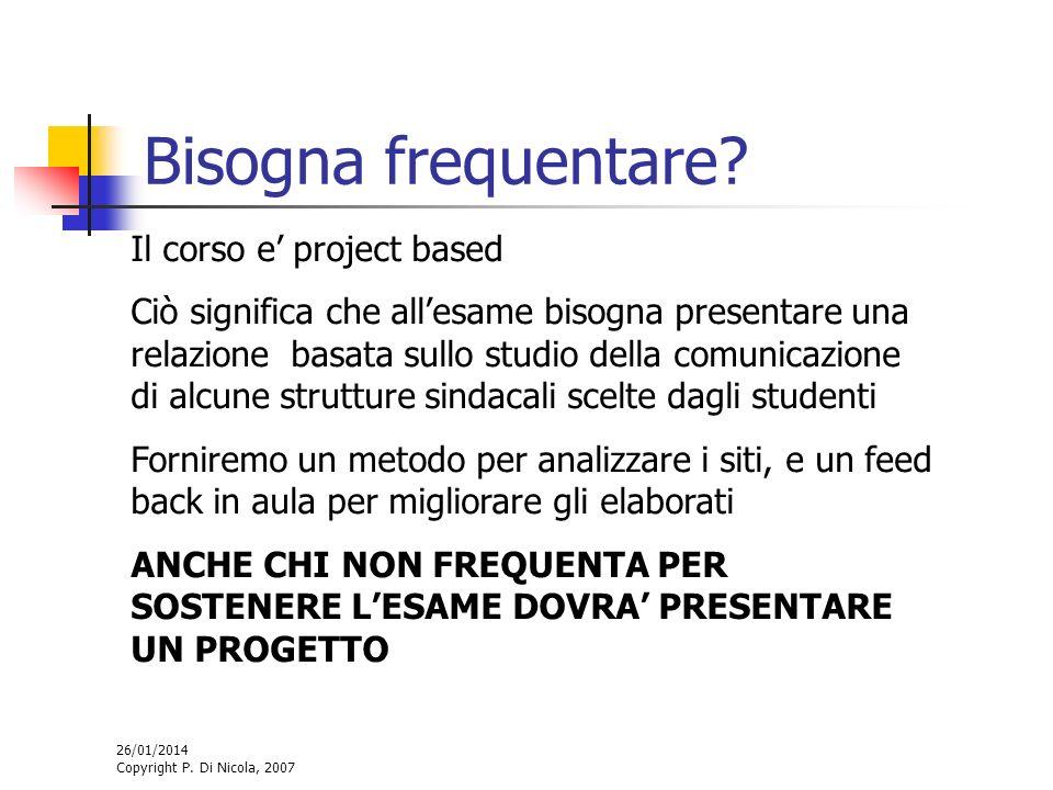 26/01/2014 Copyright P. Di Nicola, 2007 Bisogna frequentare? Il corso e project based Ciò significa che allesame bisogna presentare una relazione basa