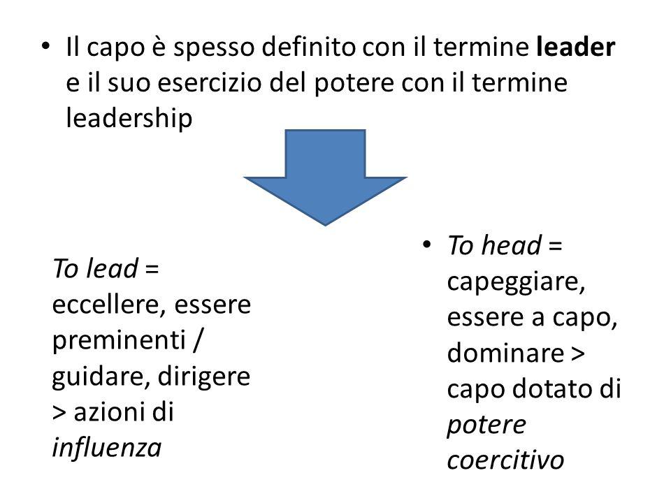 Il capo è spesso definito con il termine leader e il suo esercizio del potere con il termine leadership To lead = eccellere, essere preminenti / guidare, dirigere > azioni di influenza To head = capeggiare, essere a capo, dominare > capo dotato di potere coercitivo