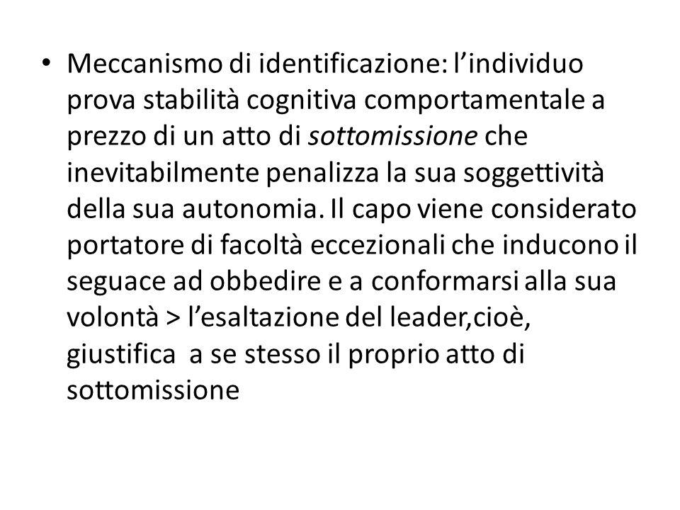 Meccanismo di identificazione: lindividuo prova stabilità cognitiva comportamentale a prezzo di un atto di sottomissione che inevitabilmente penalizza la sua soggettività della sua autonomia.