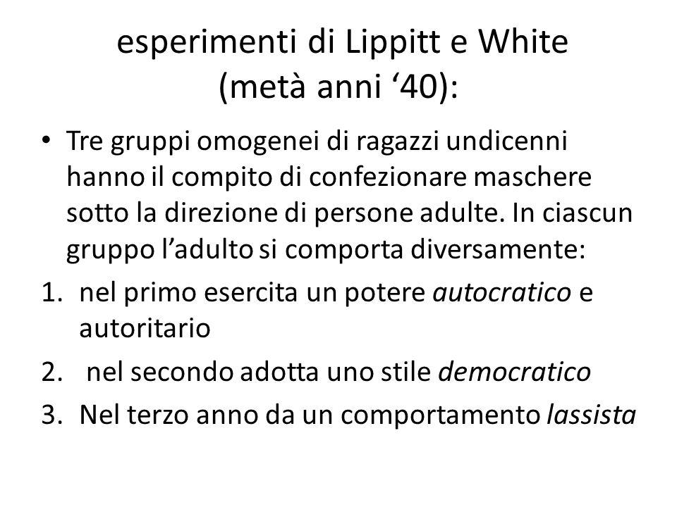 esperimenti di Lippitt e White (metà anni 40): Tre gruppi omogenei di ragazzi undicenni hanno il compito di confezionare maschere sotto la direzione di persone adulte.