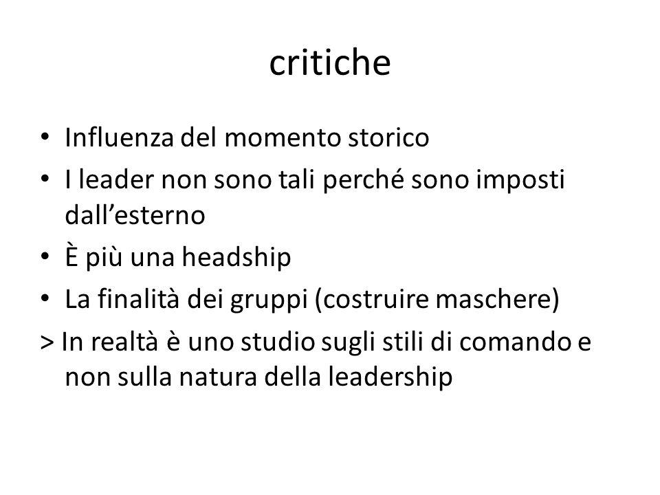 critiche Influenza del momento storico I leader non sono tali perché sono imposti dallesterno È più una headship La finalità dei gruppi (costruire maschere) > In realtà è uno studio sugli stili di comando e non sulla natura della leadership