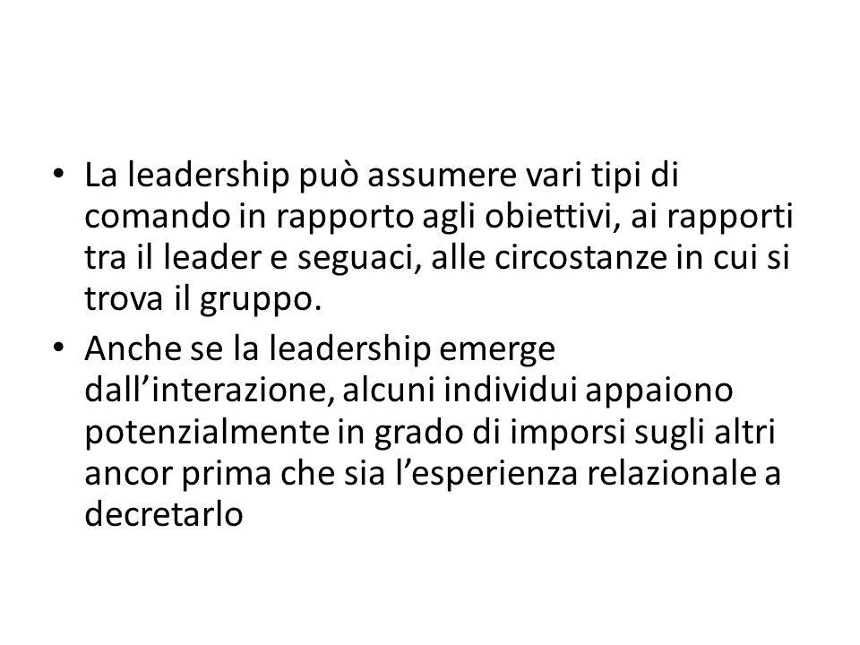 La leadership può assumere vari tipi di comando in rapporto agli obiettivi, ai rapporti tra il leader e seguaci, alle circostanze in cui si trova il gruppo.
