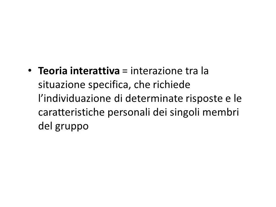 Teoria interattiva = interazione tra la situazione specifica, che richiede lindividuazione di determinate risposte e le caratteristiche personali dei singoli membri del gruppo