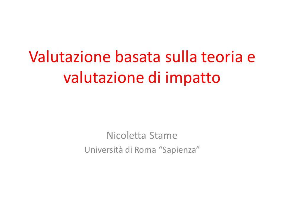 Valutazione basata sulla teoria e valutazione di impatto Nicoletta Stame Università di Roma Sapienza