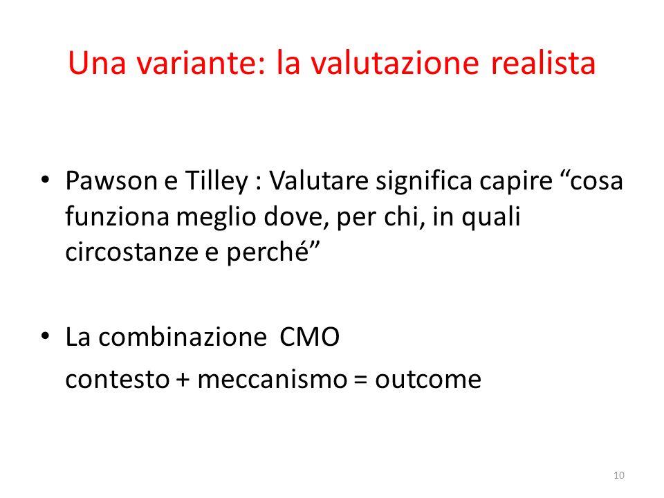 Una variante: la valutazione realista Pawson e Tilley : Valutare significa capire cosa funziona meglio dove, per chi, in quali circostanze e perché La