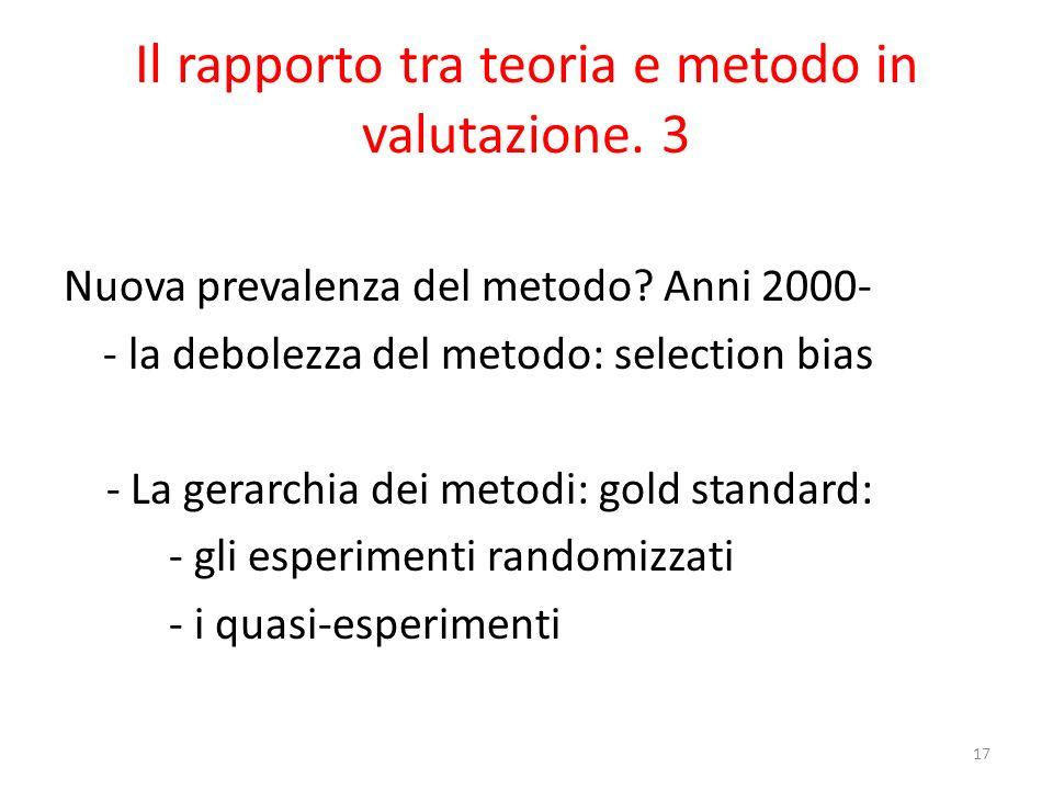 Il rapporto tra teoria e metodo in valutazione. 3 Nuova prevalenza del metodo? Anni 2000- - la debolezza del metodo: selection bias - La gerarchia dei
