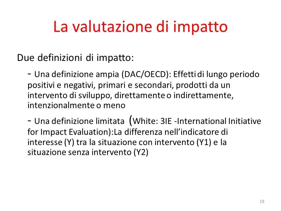 La valutazione di impatto Due definizioni di impatto: - Una definizione ampia (DAC/OECD): Effetti di lungo periodo positivi e negativi, primari e seco