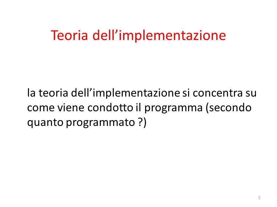 Teoria dellimplementazione la teoria dellimplementazione si concentra su come viene condotto il programma (secondo quanto programmato ?) 5